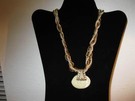 Chic Ivory & Gold Colored Oval Pendant Chunky Gemstone Necklace New & Ho... - $15.99
