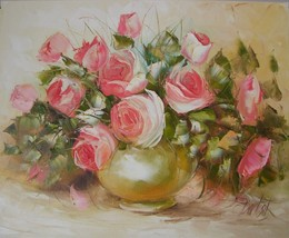 Pink Roses Impasto Original Oil Painting Impression shabby chic Artist G... - $259.00