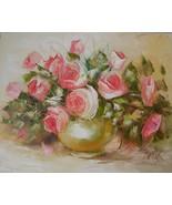 Pink Roses Impasto Original Oil Painting Impression shabby chic Artist Gold Vase - $259.00