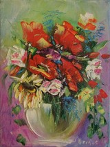 Red Poppies Bouquet IMPASTO Original Oil Painting Impressionism Artist L... - $72.00
