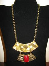 Gorgeous Chunky Gold with Red Gemstone Bib Egyptian Necklace New & Hot! ... - $15.99