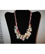 Unique Chunky Pearl Necklace With Pink Leather Entwined In Adjustable Ch... - $15.99