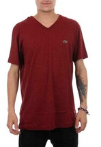 Lacoste Men's Sport Athletic Premium Pima Cotton V-Neck Shirt T-Shirt Wine image 1