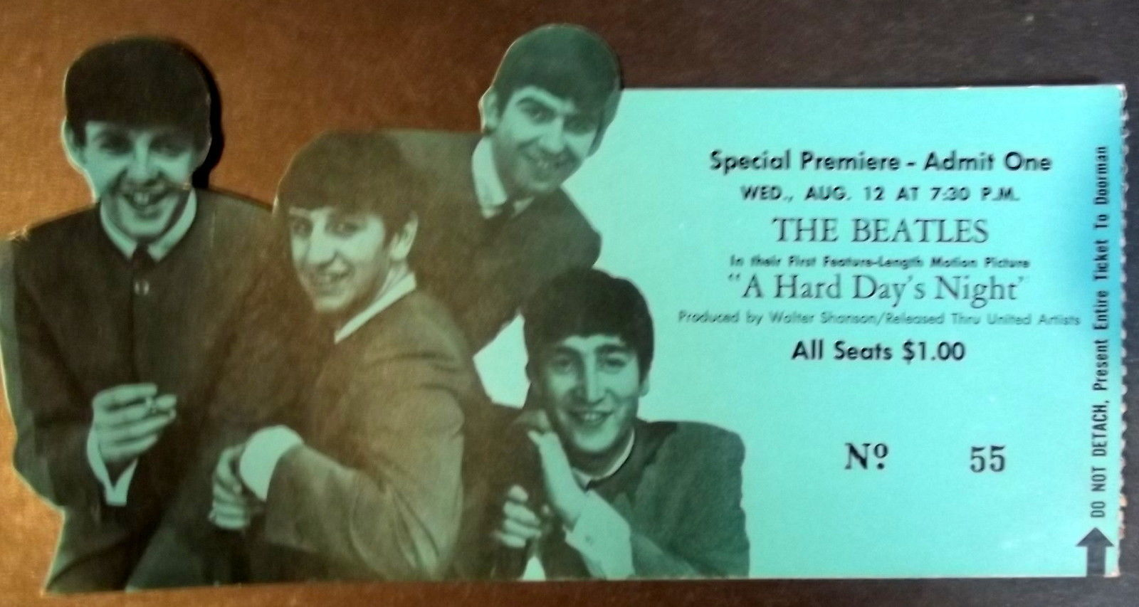 THE BEATLES (A HARD DAYS NIGHT)  ORIG,1964 SPECIAL MOVIE PREMIERE TICKET (WOW)