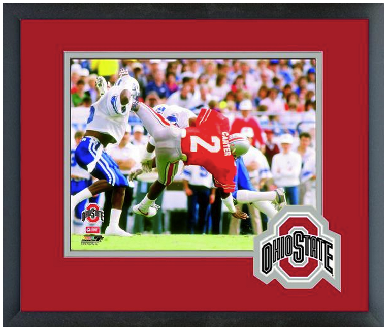 Cris Carter Ohio State University Circa 1985- 11 x 14 Matted/Framed Photo