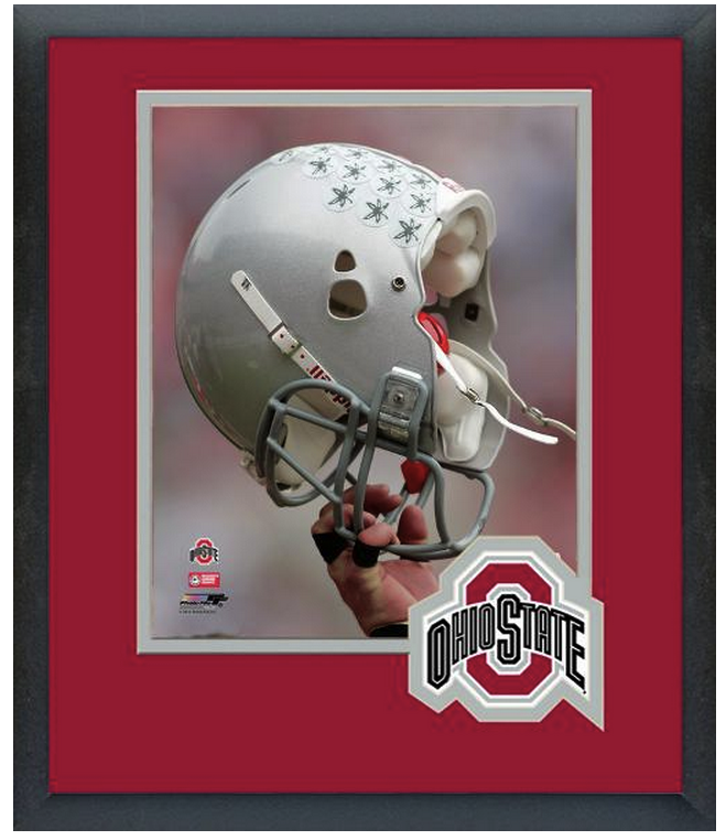 "Ohio State University Buckeyes- 11"" x 14"" Framed/Matted Football Helmet Photo"