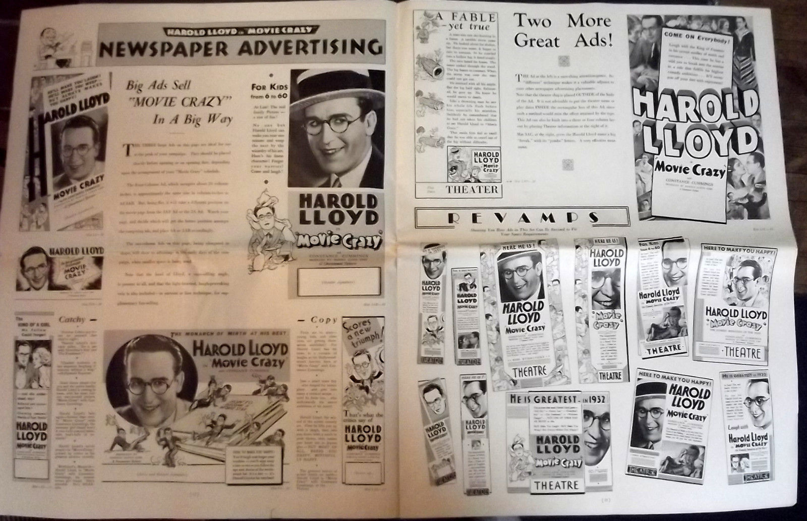 HAROLD LLOYD (MOVIE CRAZY) ORIGINAL VINTAGE 1932 MOVIE PRESSBOOK (CLASSIC)