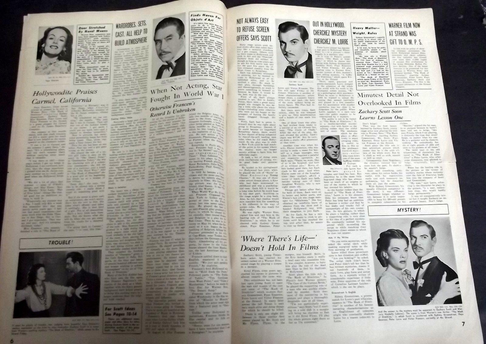 PETER LORRE,SYDNEY GREENSTREET (MASK OF DIMITRIOS) ORIG,1944 MOVIE PRESSBOOK WOW