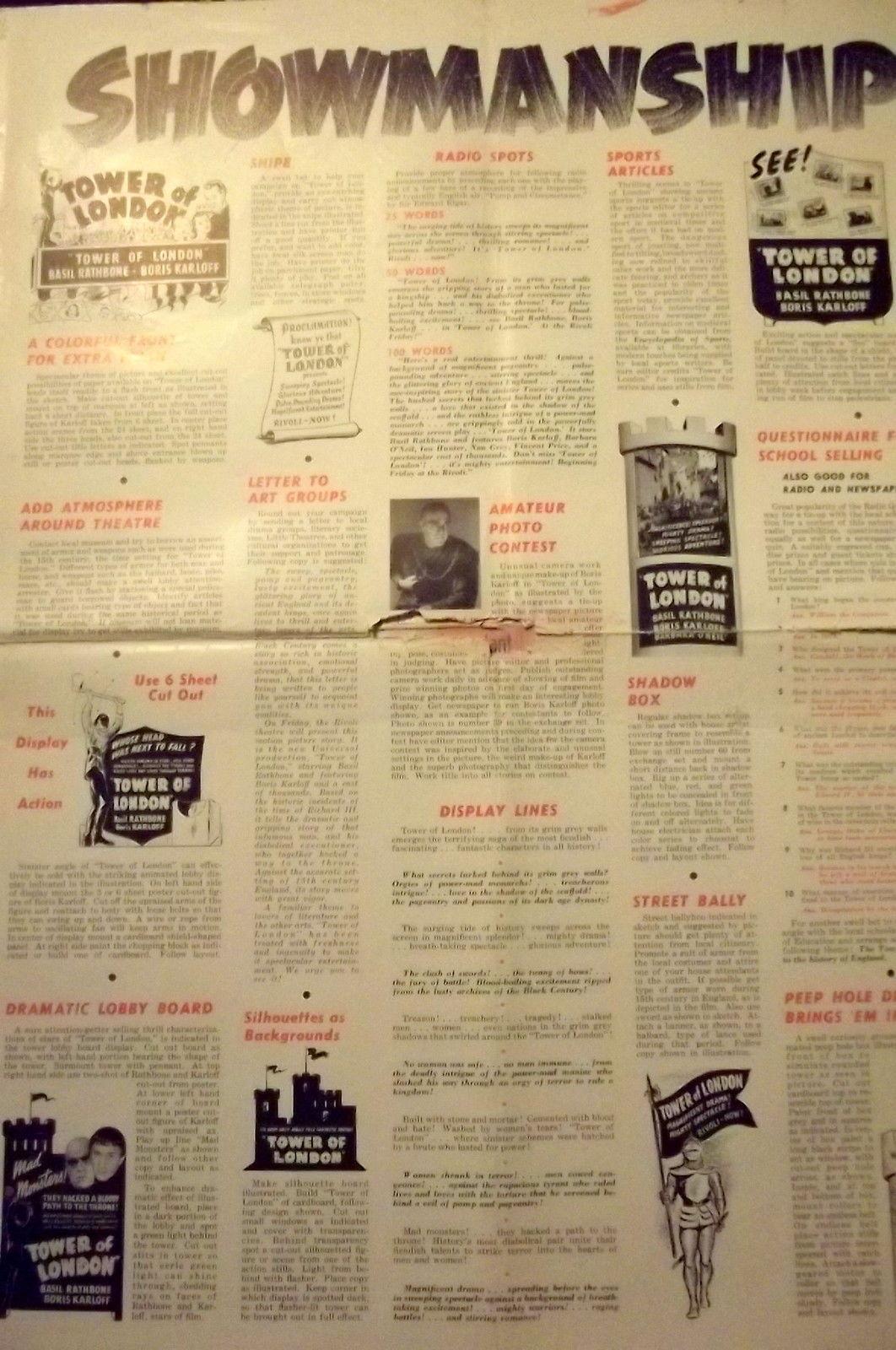 BORIS KARLOFF,BASIL RATHBONE,V.PRICE (TOWER OF LONDON) ORIG,1939 PRESSBOOK