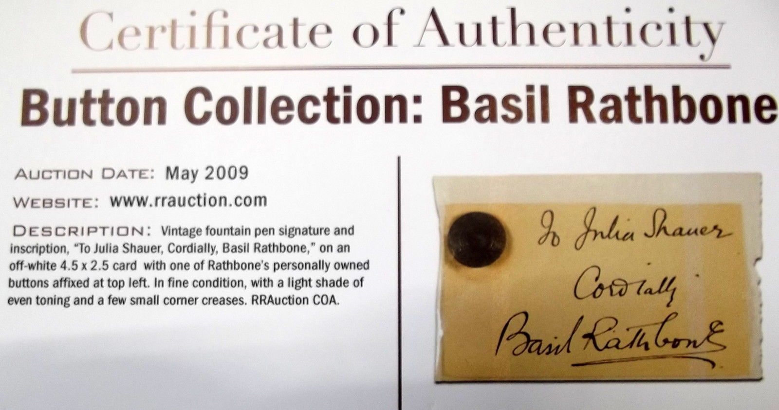 BASIL RATHBONE (ADVENTURES OF ROBIN HOOD) ORIGINAL VINTAGE AUTOGRAPH