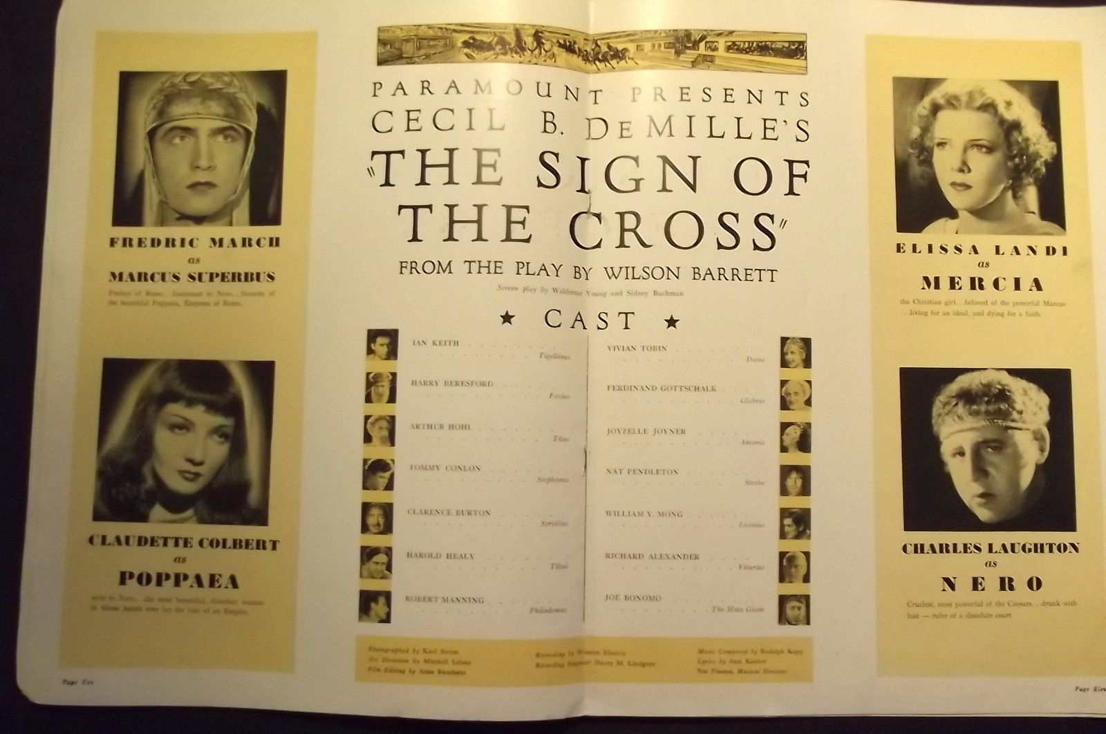 CECIL B. DE MILLE,,DIR, (THE SIGN OF THE CROSS) ORIG,1933 MOVIE PROGRAME