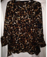 Womens Lovely Rafaella Brown Leopard Print Blouse New w/Tags - Size Small - $14.65