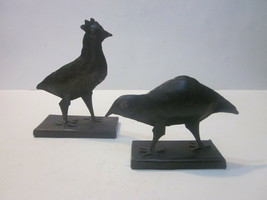 VINTAGE HAND CRAFTED METAL ROOSTER AND HEN SILHOUETTE FIGURINES  - $9.99