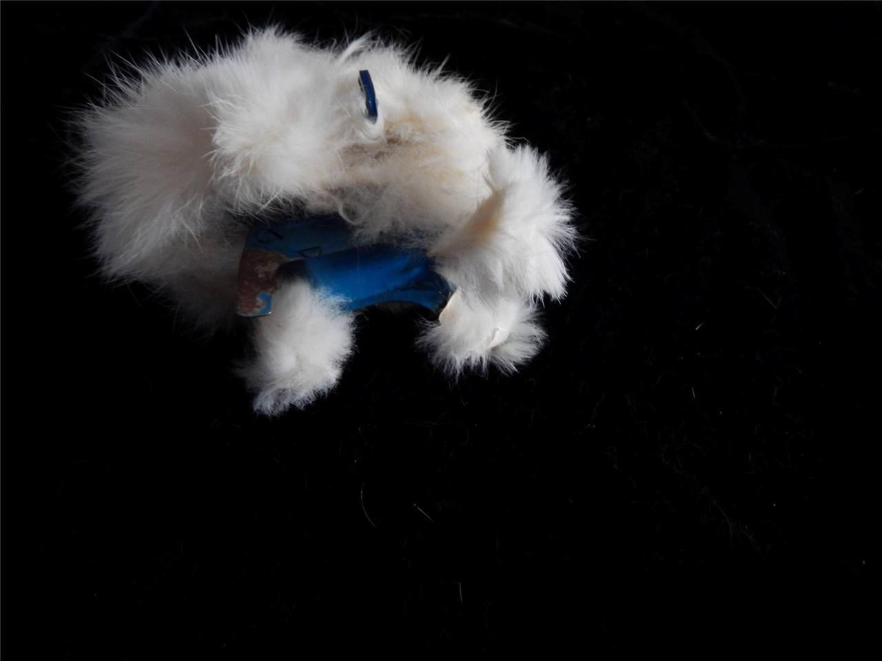 """Rabbit Vintage Retro White Real Fur Wind Up Bunny Toy Works 6"""""""