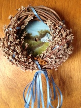 Collectible Hand Painted Summer Mini Sawblade Wreath Blues Greens Wall D... - $16.00