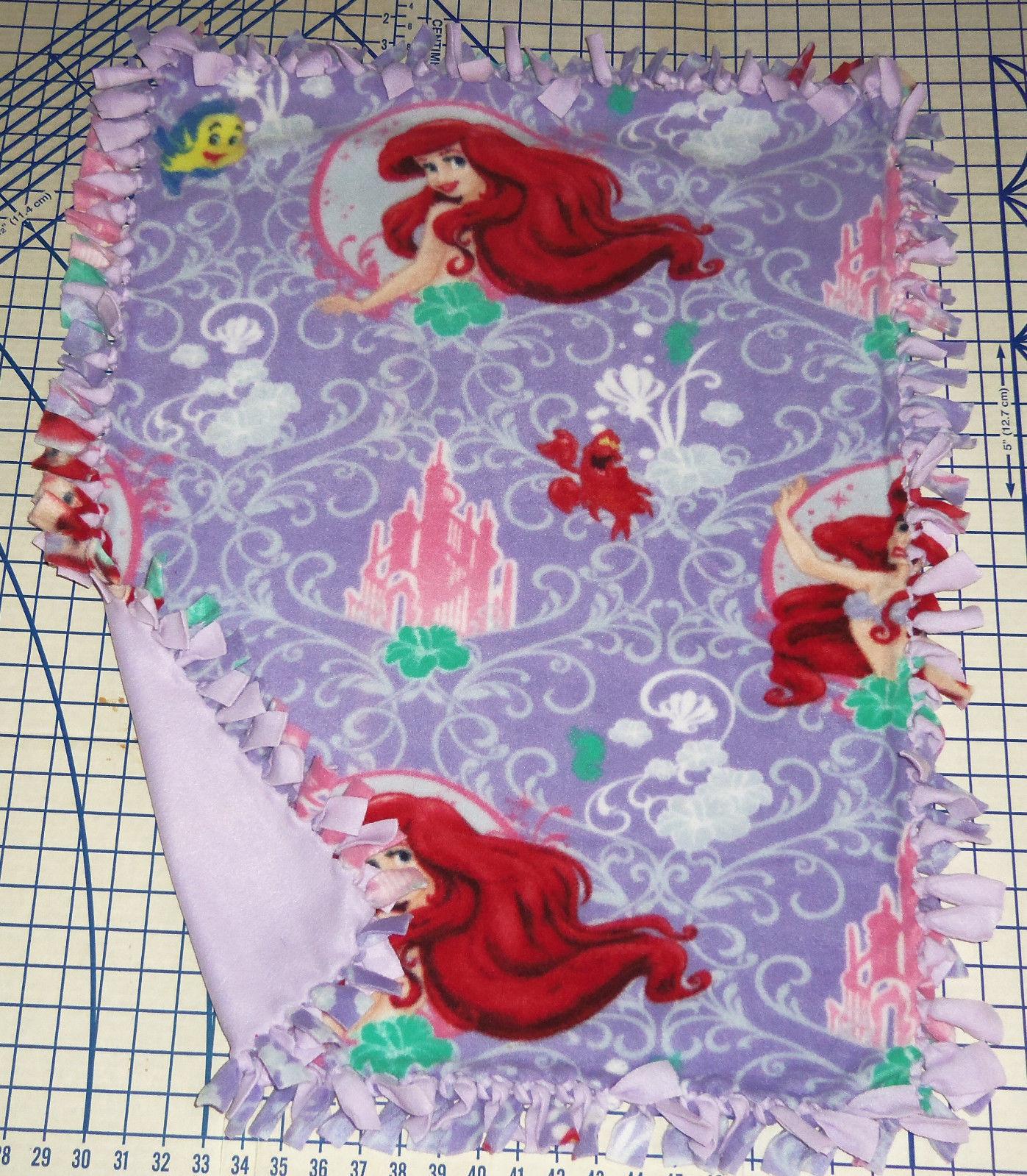 Disney Ariel The Little Mermaid Flounder Fleece Baby Blanket Pet Lap Hand Tied