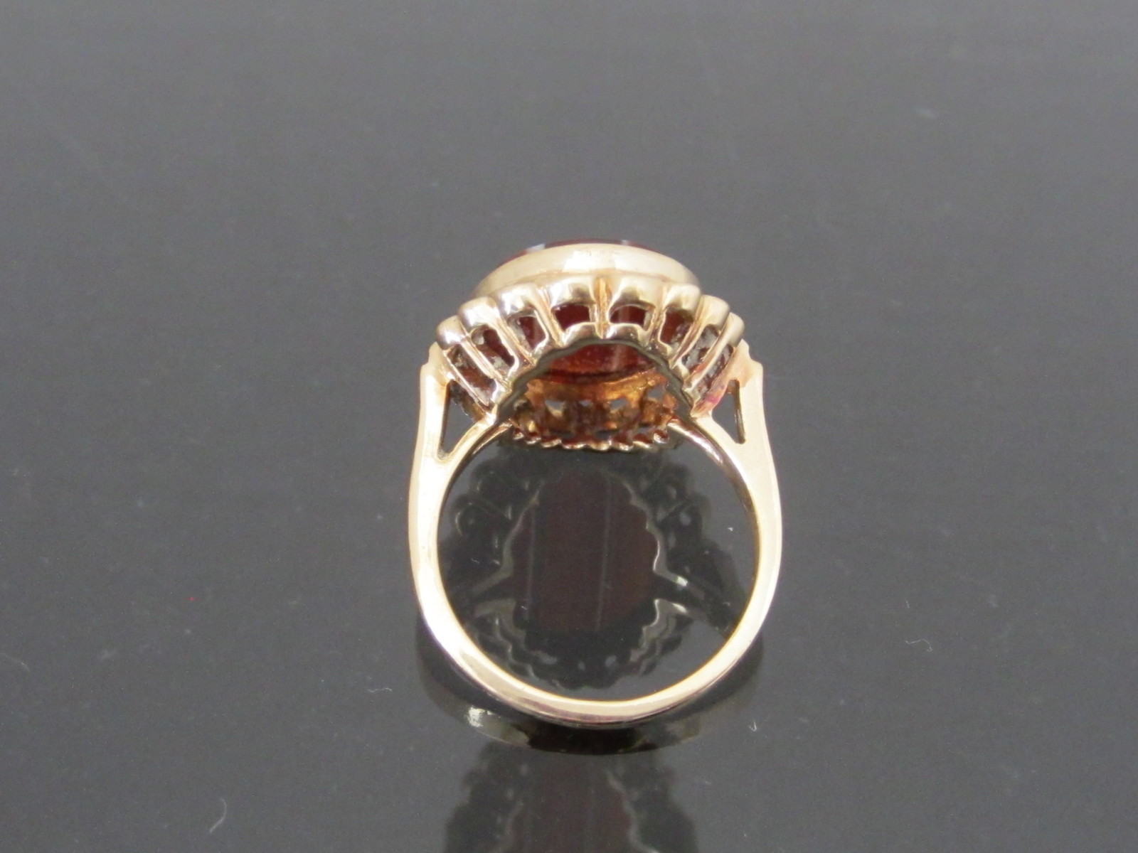 Vintage 1960s Natural Oval Banded Brown Agate Ring 2ct 10K Yellow Gold Size 6.5