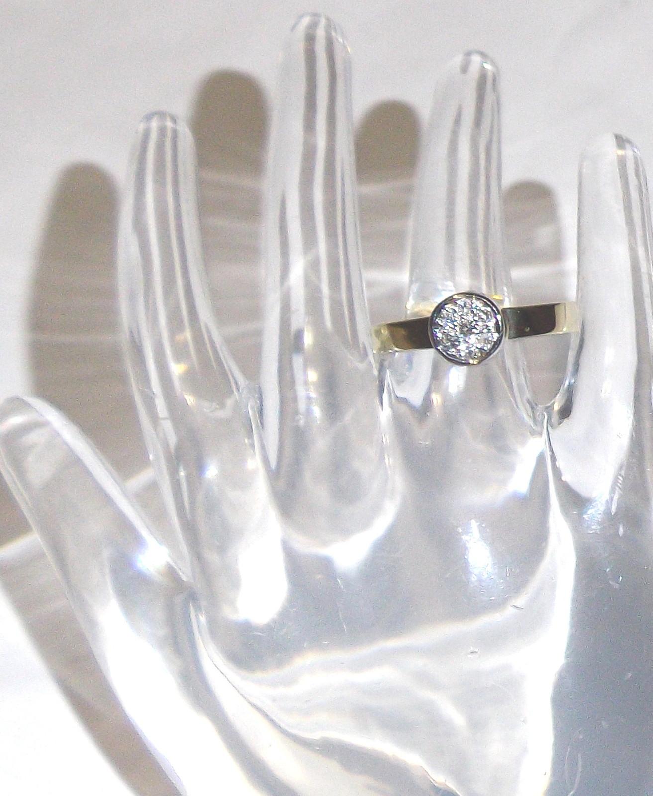 14K Yellow & White Gold Diamond Round Band Ring, Size 6, 0.10(TCW), I1-I2 / H-I