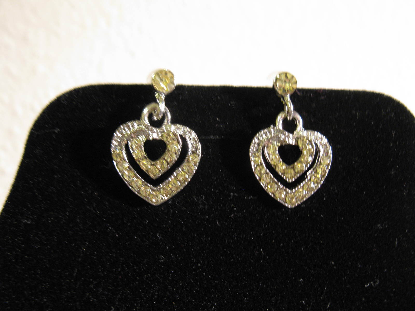 Beautiful Silver Rhinestone Heart Solitaire Necklace & Earrings New! #D785