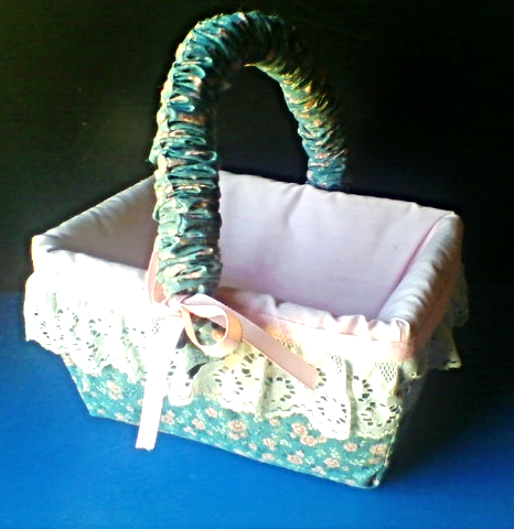 Easter Basket Country Kitchen Style Cloth Covered with Lace Trim Handmade