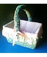 Easter Basket Country Kitchen Style Cloth Covered with Lace Trim Handmade  - $29.99