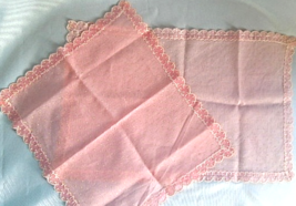 Set of Two Sheer Pink Vintage Doilies with Raised Flocked Polka Dots    #5054 - $6.79
