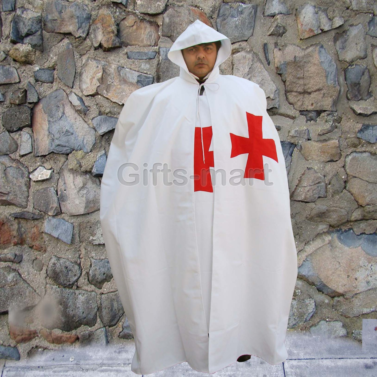 MEDIEVAL KNIGHT CRUSADER TEMPLAR Natural White Wool Blend CAPE CLOAK New