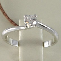 White Gold Ring 750 18k, Solitaire, Shank Cross, diamond carats 0.26 image 2