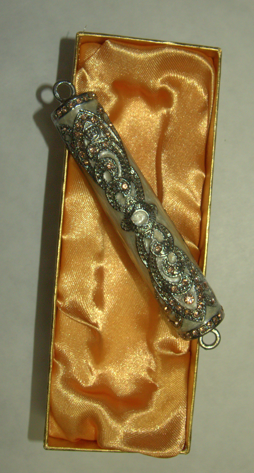 Judaica Mezuzah Case Pearl White Enamel Pink Champagne Crystal Decorated 7 cm