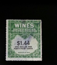 1942 $1.44 United States Internal Revenue Cordial & Wine, Green Scott RE... - $4.54