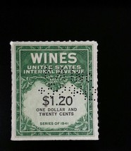 1942 $1.20 United States Internal Revenue Cordial & Wine, Green Scott RE... - $2.99