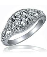 2.08 Ct 3-Stone Round Cut Natural Diamond Engagement Ring 14K White Soli... - $4,672.06