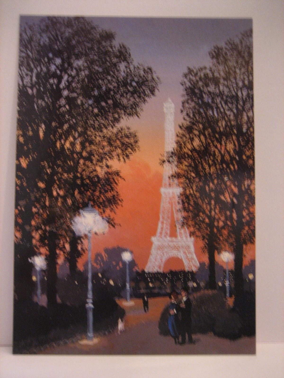 MICHEL DELACROIX Paris Post Card JARDIN DU TROCADERO LE SOIR, New