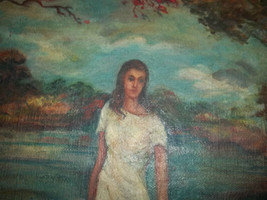 Oil Primitive Painting On Canvas Girl in Moor signed antique original - $550.00