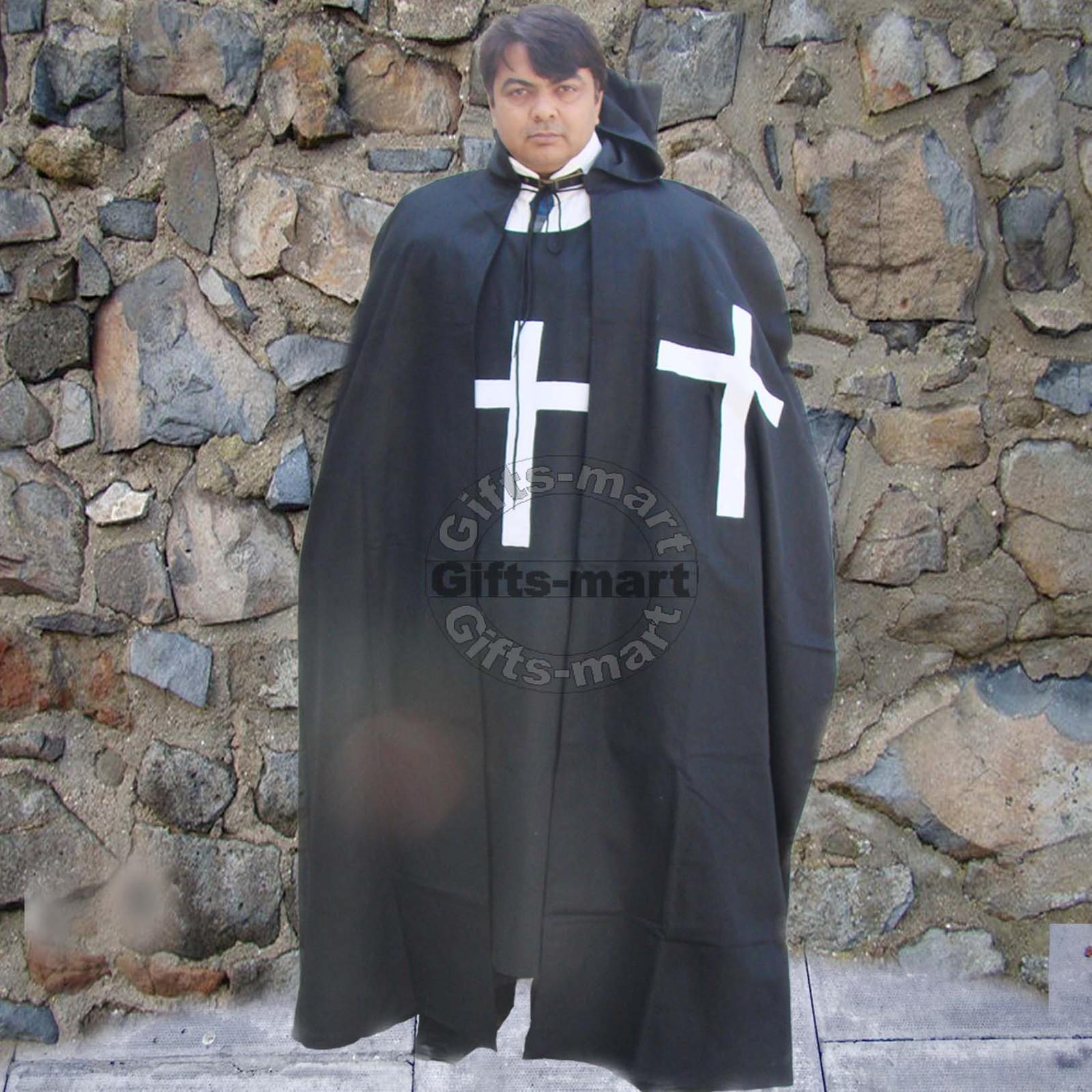 MEDIEVAL KNIGHT CRUSADER TEMPLAR Natural Black Wool Blend CAPE CLOAK New Costume
