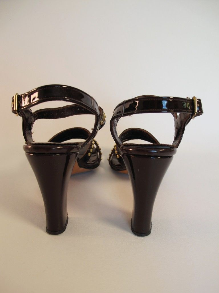 Vintage 60s 70s Patent Leather Strappy Sandals Studs 6N Harzfelds MOD Bombshell