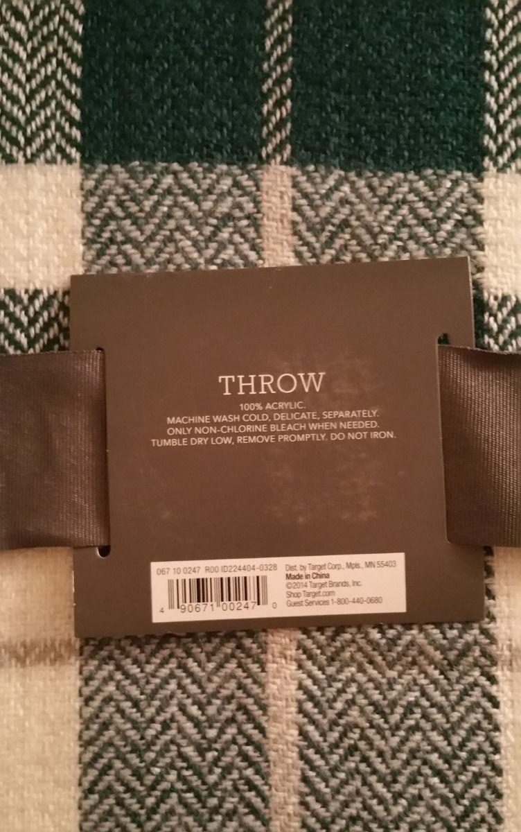 Threshold Throw BLANKET Zenith Teal Cream Plaid Soft Afghan 50x60 Reversible New
