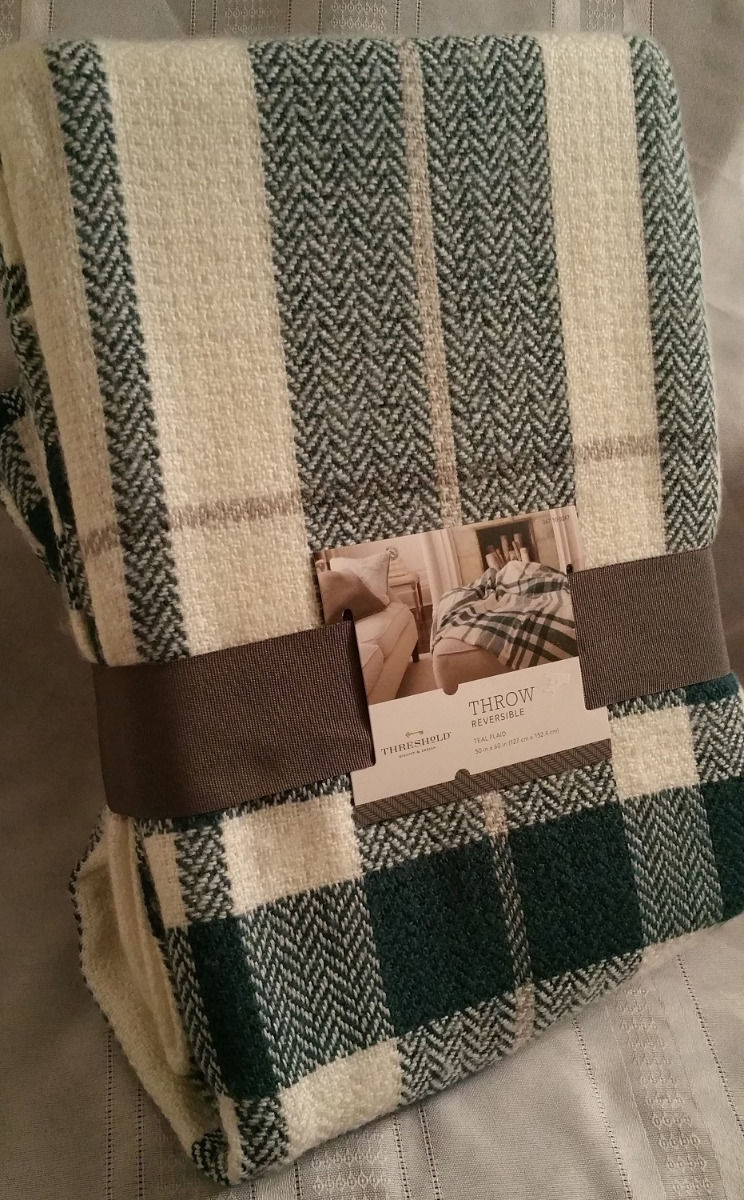 Threshold Throw BLANKET Zenith Teal Cream Plaid Soft Afghan 50x60 Reversible New