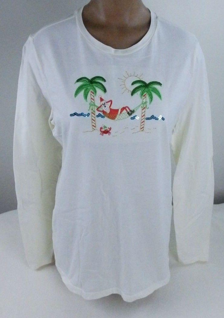 Women's Shirt Sunshine Santa Relaxing on Beach Decorated Palm Trees LG 12-14