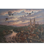 Kathleen Cantin Times Remembered II Hot Air Balloons Sunset Sky S/N Reta... - $321.75