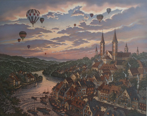 Kathleen Cantin Times Remembered II Hot Air Balloons Sunset Sky S/N Retails $895