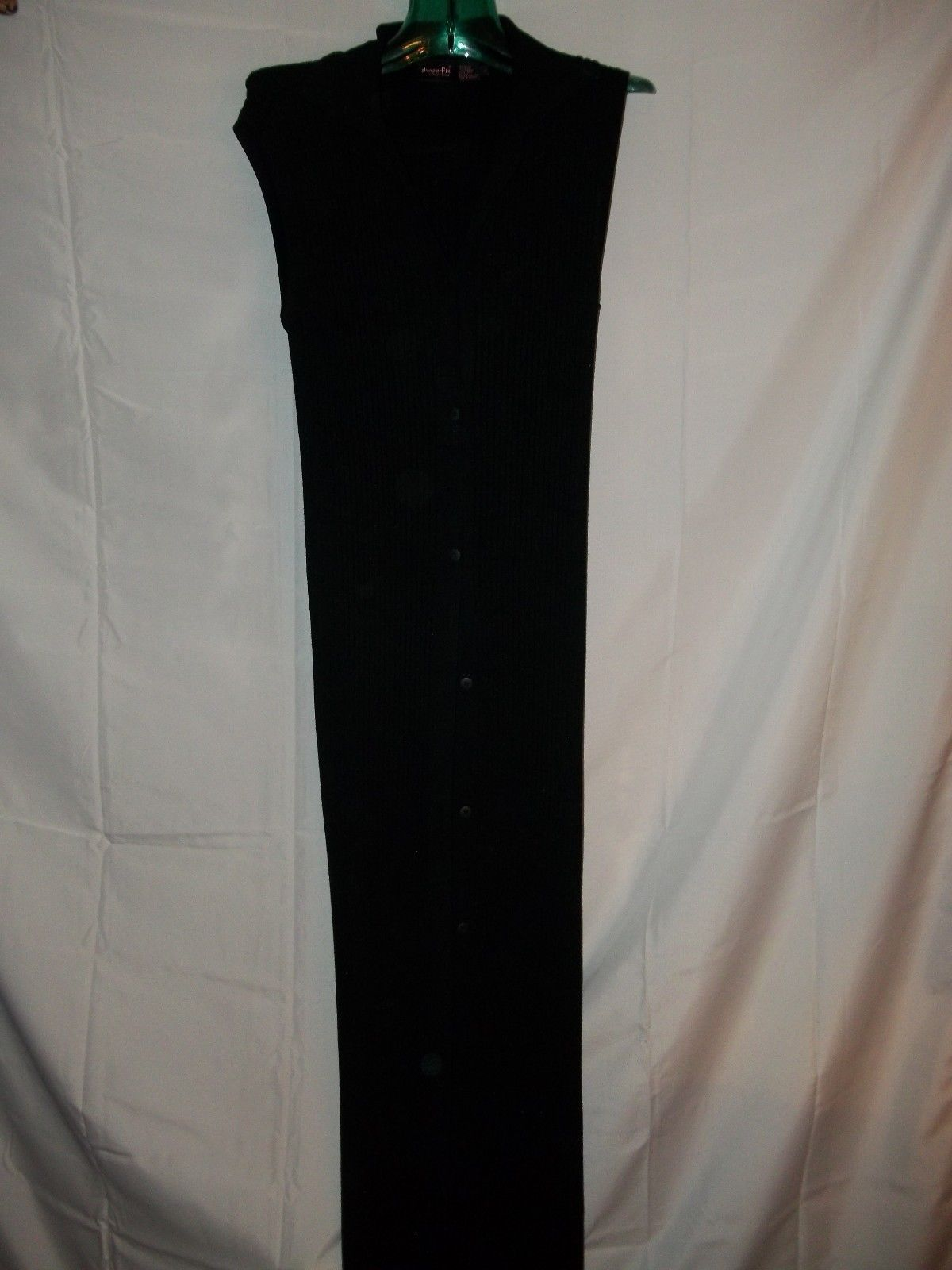 Ladies Size M Shape fx Rayon Blend Long Black Knitted Sweated Vest Button Up