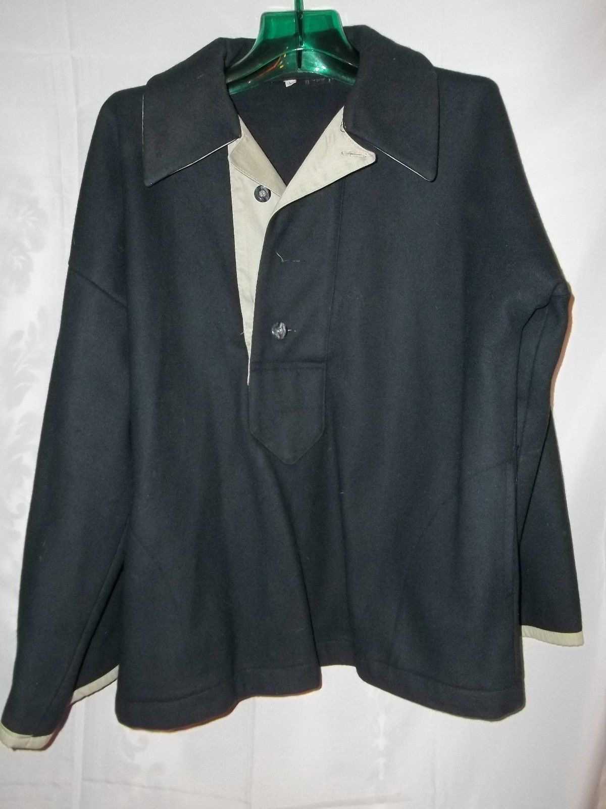 Size L oggi Navy Blue Wool Pullover Vintage Jacket Khaki Trim 3 Buttons Collared