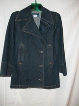 Size Size S Express Bleus Anchor Buttons Blue Jean Pea Coat Jacket - $39.59