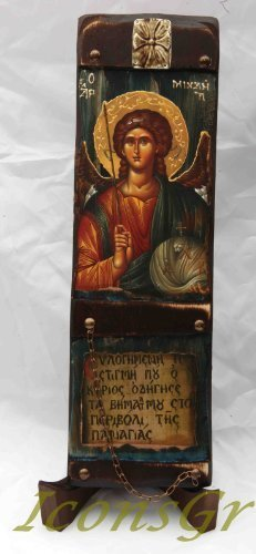 Wooden Greek Christian Orthodox Wood Icon of Archangel Michael / L10 [Kitchen]
