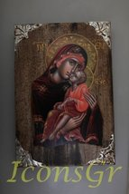 Wooden Greek Christian Orthodox Wood Icon of Mother of Jesus / P16 [Kitchen] - $105.74