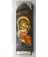 Wooden Greek Christian Orthodox Wood Icon of Mother of Jesus & Jesus Chr... - $69.48