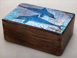 Handmade Greek Wooden Wood Box with Dolphins From Minoan Drawings / R32_3 [Home] - $39.10