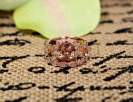 Morganite,White Diamond Cushion Cut Womens Anniversary Ring In Solid 925 Silver  - $119.99