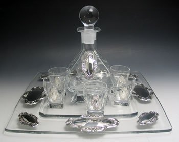 Crystal & Sterling Silver Liquor Set